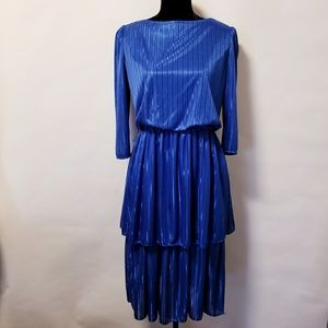 Vintage 80's blue shimmer disco party dress